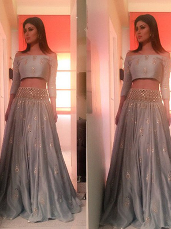 Perfect A-Line Off-the-Shoulder 3/4 Sleeves Floor-Length Satin Two Piece Dress