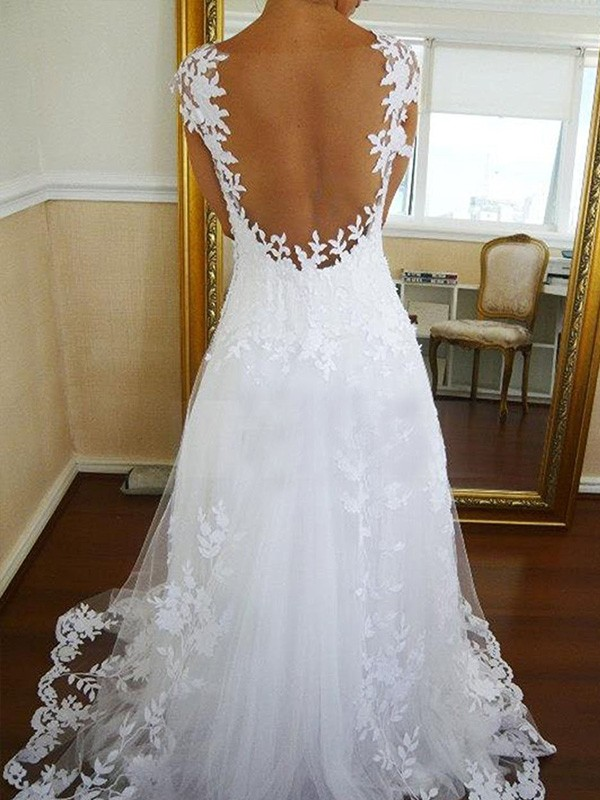 Discount A-Line V-neck Sweep/Brush Train Lace Sleeveless Tulle Wedding Dress