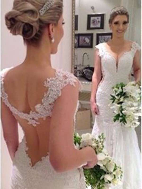 Affordable Mermaid Sleeveless Sweep/Brush Train V-neck Lace Wedding Dress