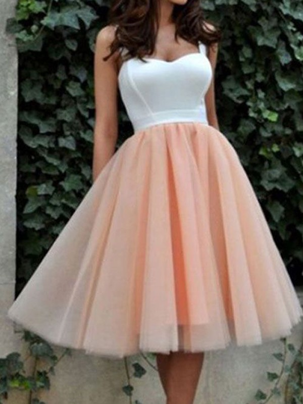 Discount A-Line Sleeveless Sweetheart Tulle Knee-Length Dress