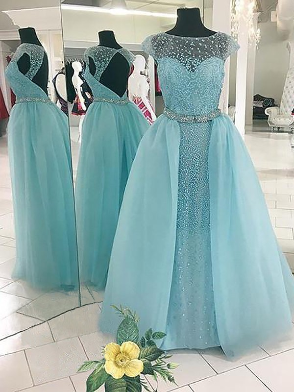 Stylish Ball Gown Sleeveless Bateau Floor-Length Tulle Dress