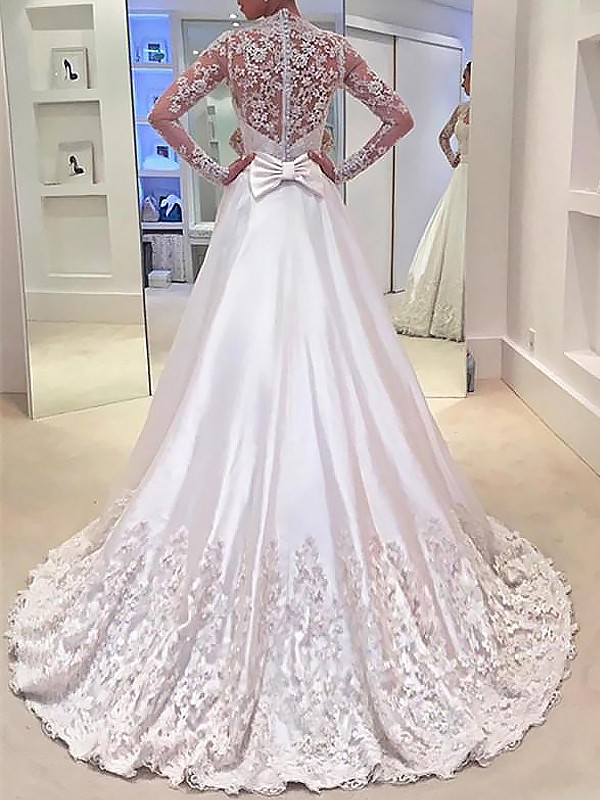 Exquisite A-Line V-neck Satin Long Sleeves Sweep/Brush Train Wedding Dress