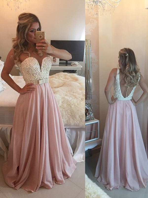 Stunning A-Line Sweetheart Sleeveless Floor-Length Chiffon Dress