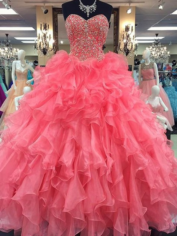 Stunning Ball Gown Sweetheart Sleeveless Floor-Length Organza Dress