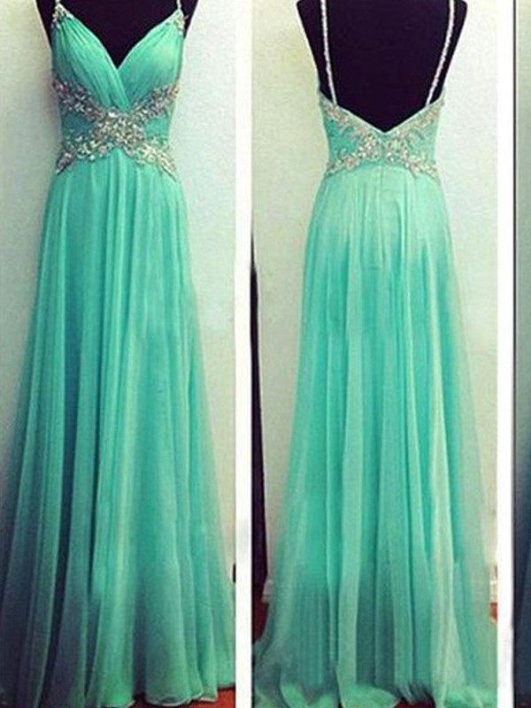 Stunning A-Line Spaghetti Straps Sleeveless Floor-Length Chiffon Dress