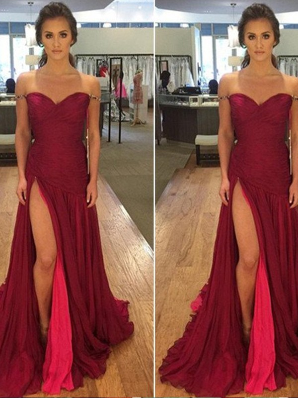 Stunning A-Line Off-the-Shoulder Sleeveless Floor-Length Chiffon Dress