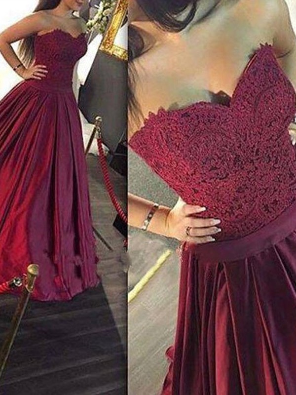 Stunning A-Line Sweetheart Sleeveless Lace Satin Floor-Length Dress