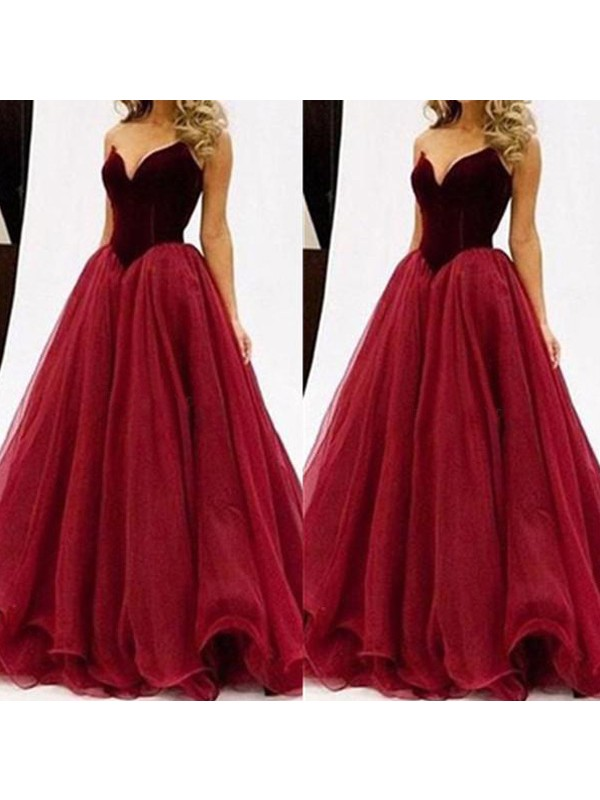 Perfect Ball Gown Sweetheart Sleeveless Tulle Floor-Length Dress