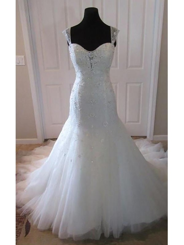 Fashion Mermaid Tulle Sleeveless Court Train Straps Wedding Dress