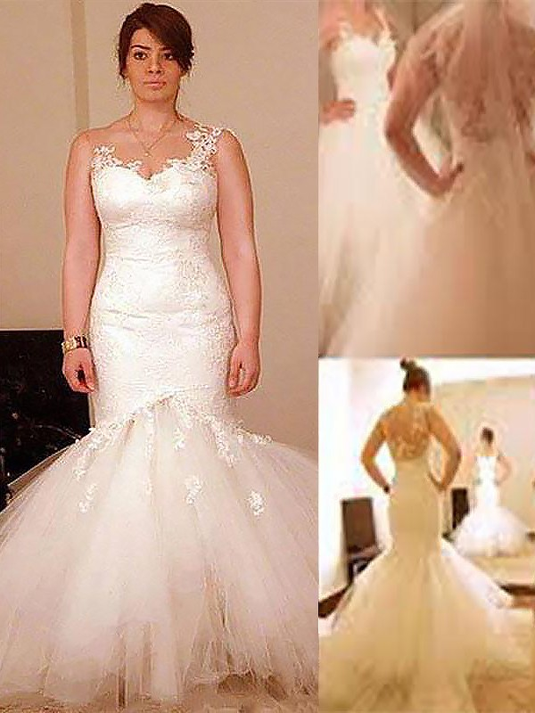 Fashion Mermaid Floor-Length Sleeveless Organza Straps Wedding Dress