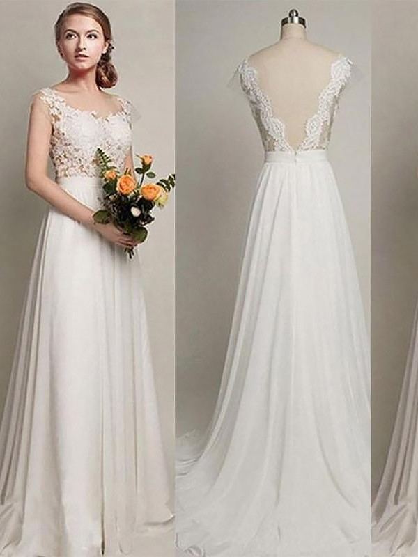 Exquisite A-Line Chiffon Scoop Sleeveless Sweep/Brush Train Wedding Dress