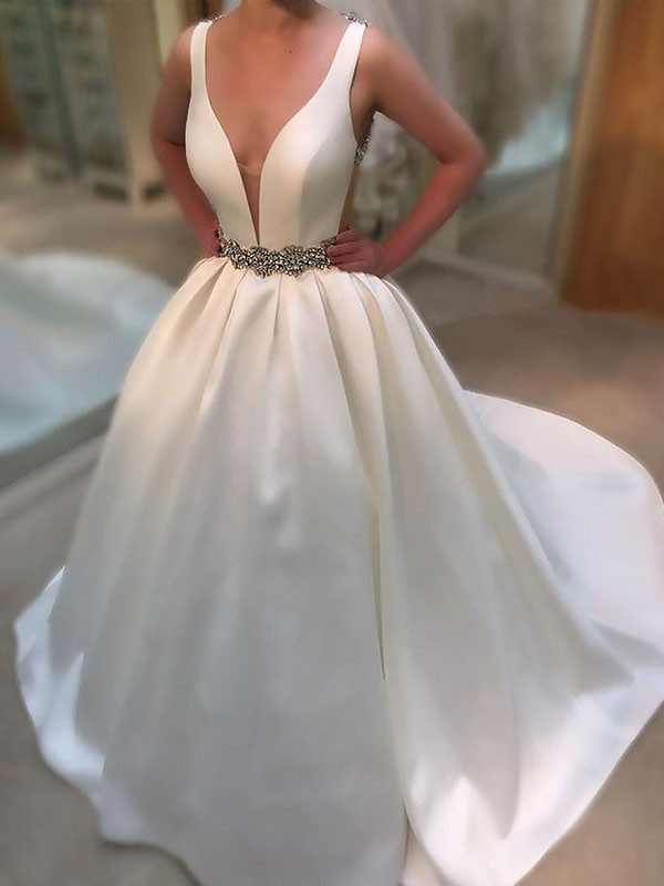 Exquisite A-Line Court Train Satin V-neck Sleeveless Wedding Dress