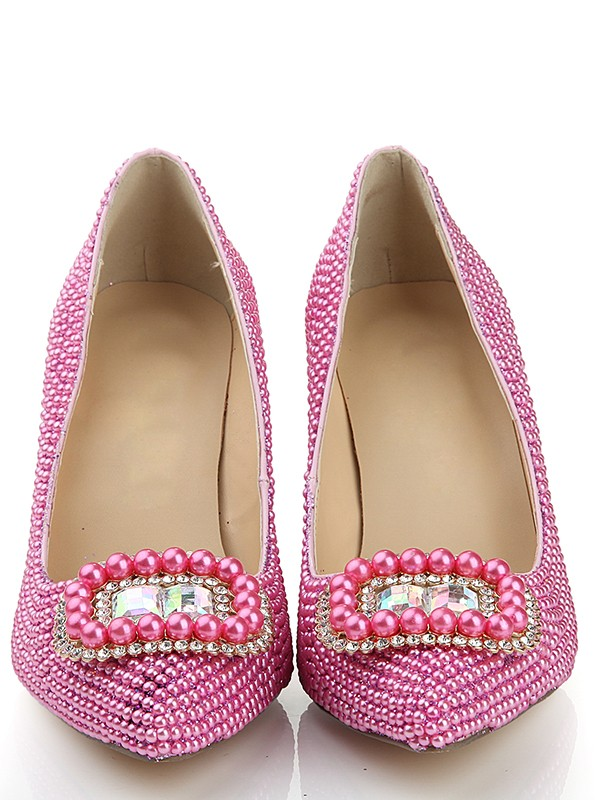 Exquisite Women Patent Leather Closed Toe Stiletto Heel Pearl Pink Wedding Shoes