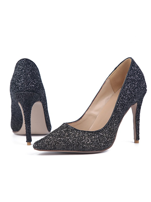 Beautiful Women Sparkling Glitter Stiletto Heel Closed Toe High Heels