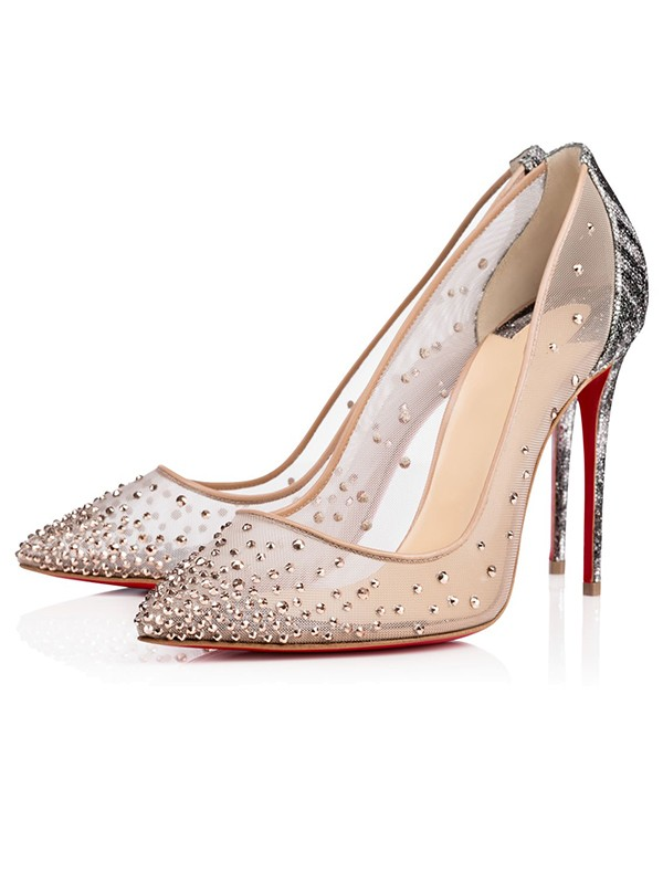 Beautiful Women Closed Toe Stiletto Heel Hot Drilling High Heels
