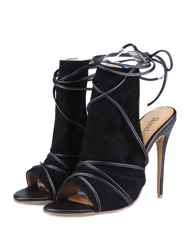 Fancy Women Peep Toe Suede Stiletto Heel Buckle Sandals Shoes