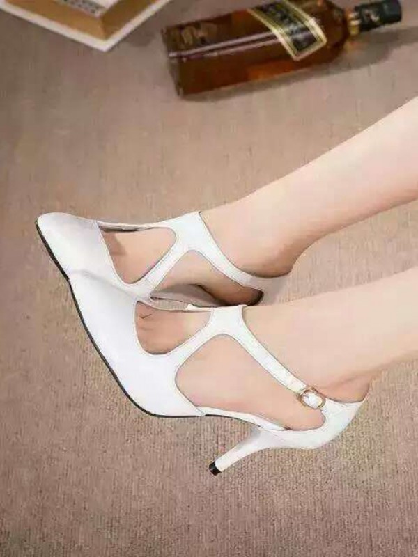 Hot Sale Women Cone Heel Patent Leather Closed Toe Buckle Sandals Shoes