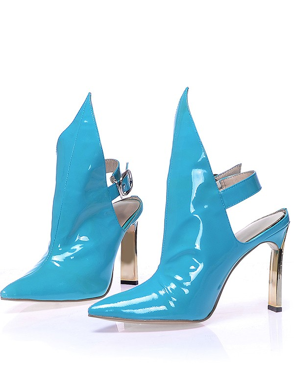 Hot Sale Women Patent Leather Closed Toe Stiletto Heel Buckle Booties/Ankle Blue Boots