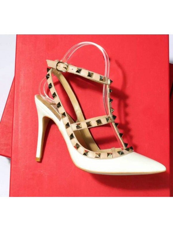 Hot Sale Women Patent Leather Closed Toe Stiletto Heel Rivet Sandals Shoes