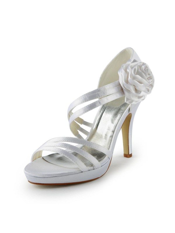 Fashion Women Satin Stiletto Heel Platform Sandals White Wedding Shoes Flower