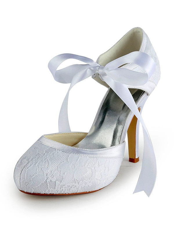 Fashion Women Satin Stiletto Heel Pumps Lace White Wedding Shoes