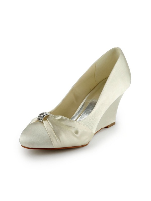 Fashion Women Satin Wedge Heel Wedges Ivory Wedding Shoes
