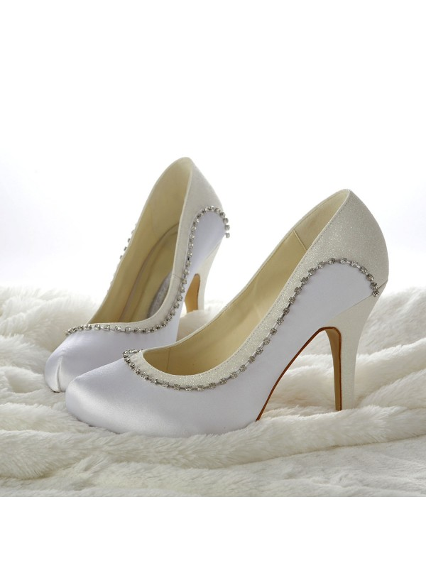 Fashion Women Stiletto Heels Closed-toe White Wedding Shoes
