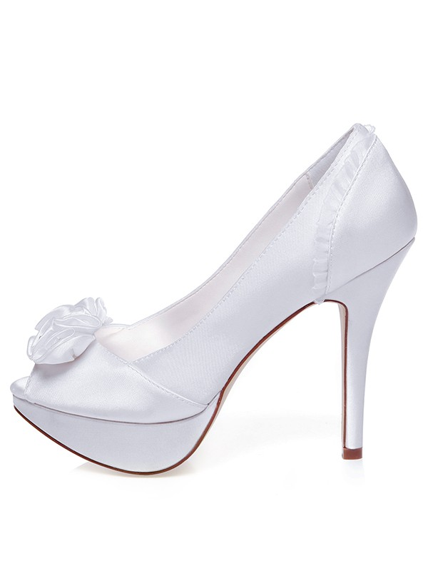 Beautiful Women Satin Peep Toe Stiletto Heel Knots Wedding Shoes