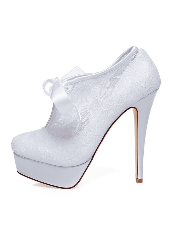 Beautiful Women Satin Closed Toe Silk Stiletto Heel Wedding Shoes