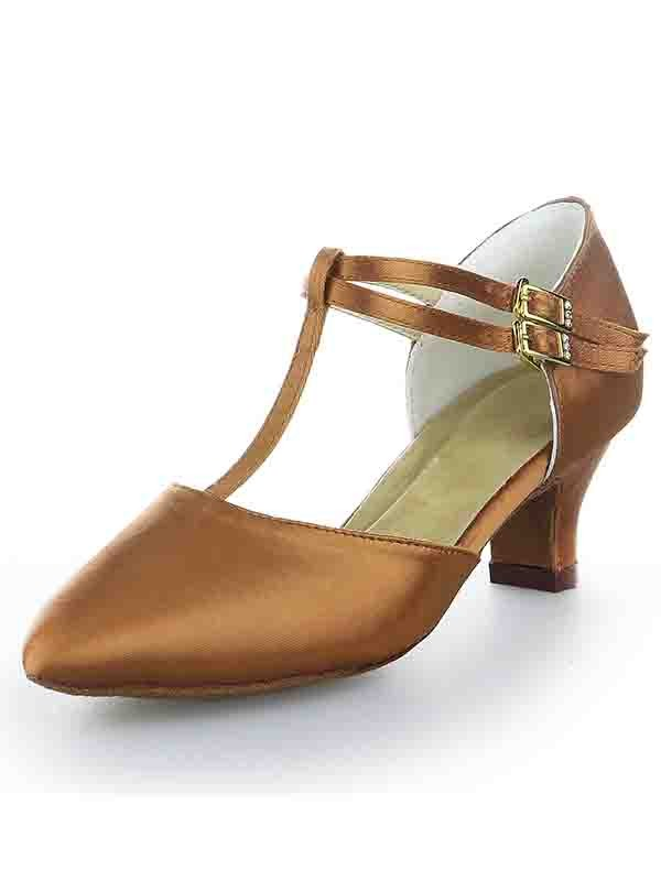 Stylish Women T-Strap Satin Closed Toe Kitten Heel Buckle High Heels