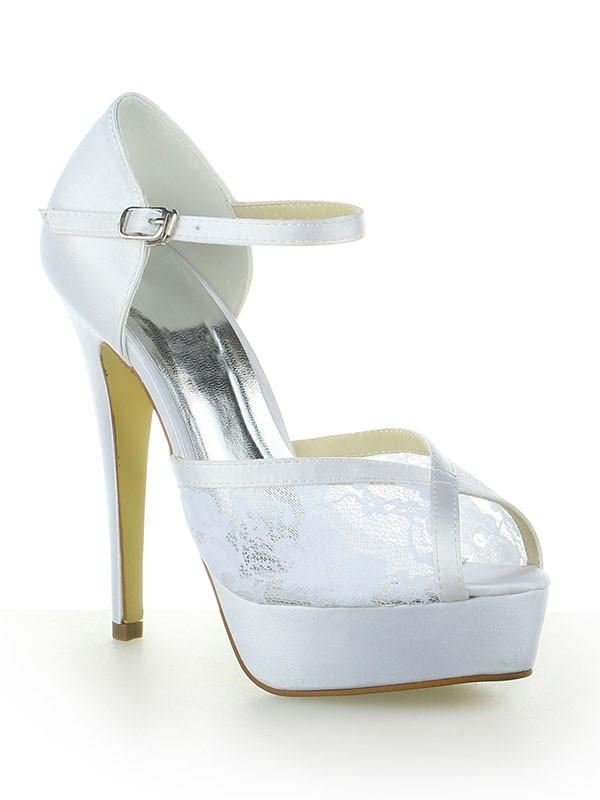 Classical Women Satin Lace Platform Peep Toe Buckle Stiletto Heel White Wedding Shoes