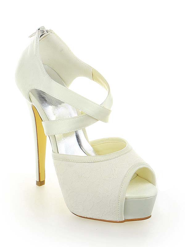 Classical Women Satin Lace Platform Peep Toe Stiletto Heel Zipper White Wedding Shoes