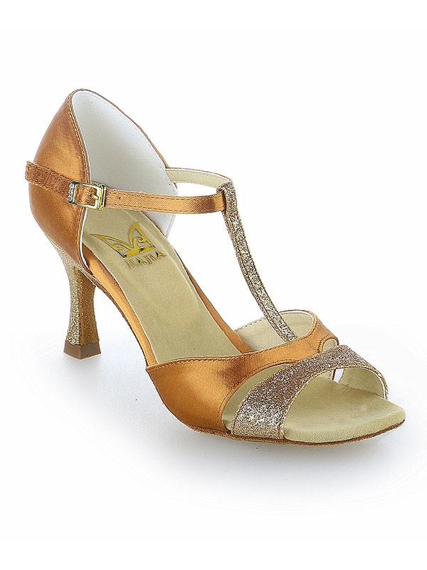 Classical Women Satin Peep Toe Buckle Stiletto Heel Dance Shoes