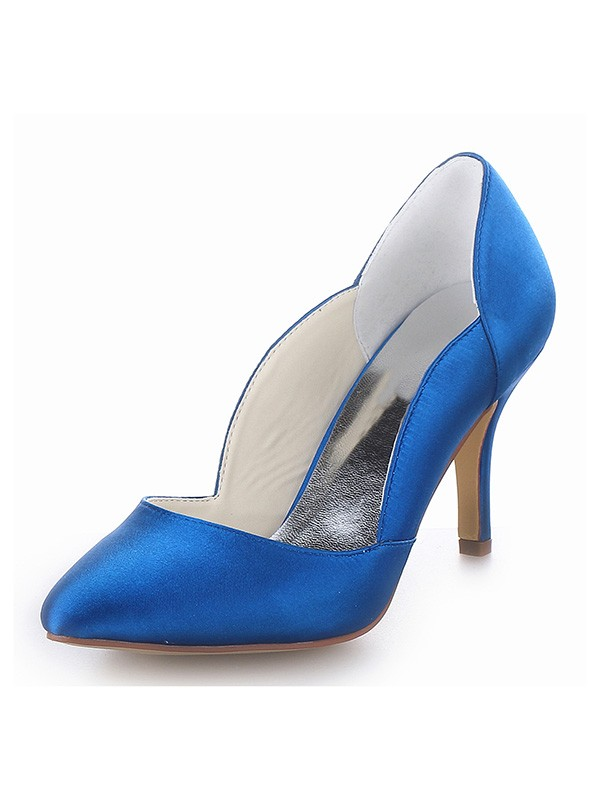 Stylish Women Closed Toe Satin Cone Heel High Heels