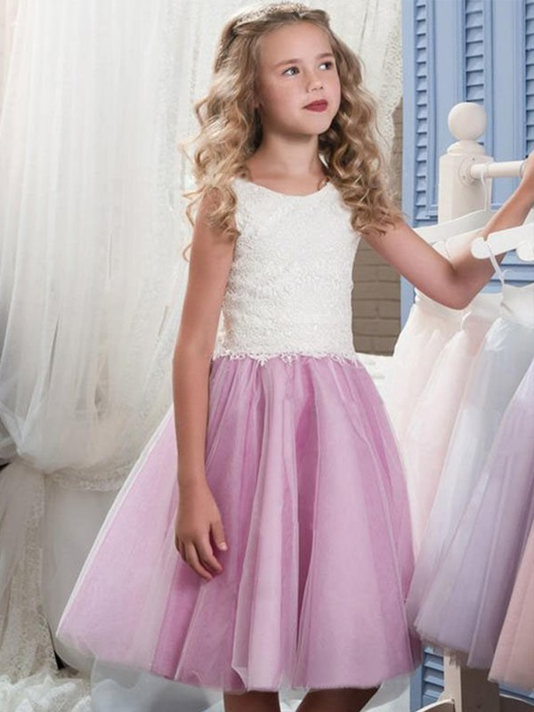 Stylish A-Line Sleeveless Scoop Knee-Length Lace Tulle Flower Girl Dress
