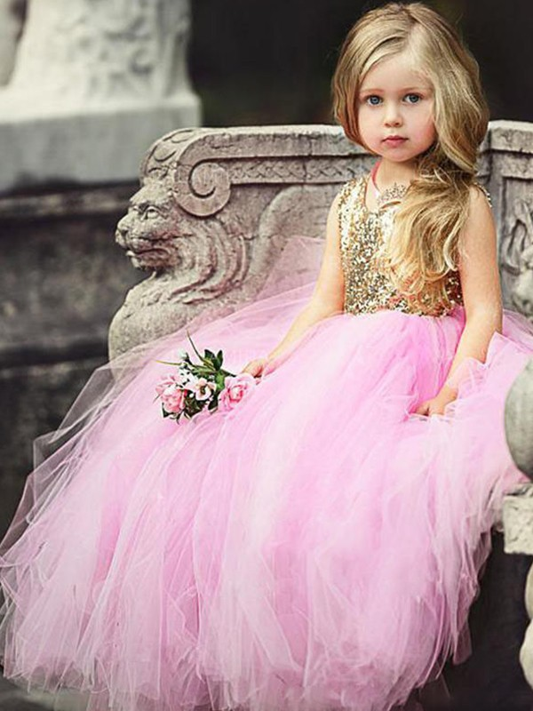 Exquisite Ball Gown Sleeveless Scoop Floor-Length Sequin Tulle Flower Girl Dress