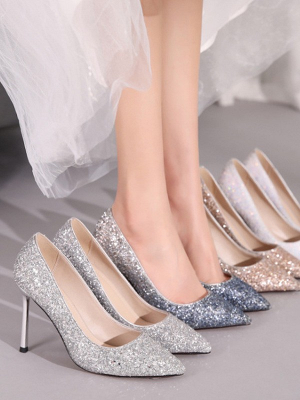 New Women Girls Sparkling Glitter Closed Toe Stiletto Heel High Heels