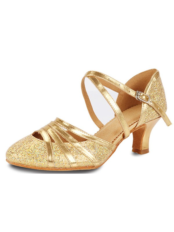 New Women Girls Sparkling Glitter Cone Heel Closed Toe Sandals