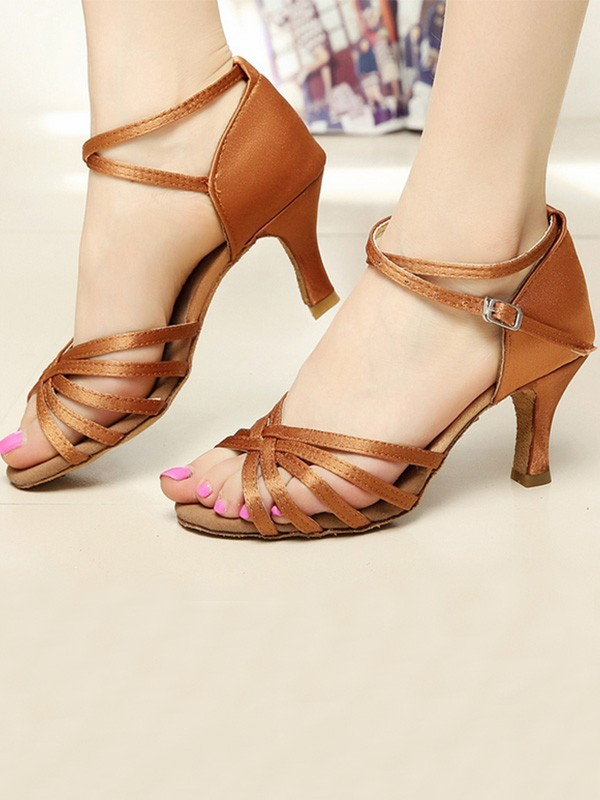 New Women Girls Satin Cone Heel Peep Toe Sandals