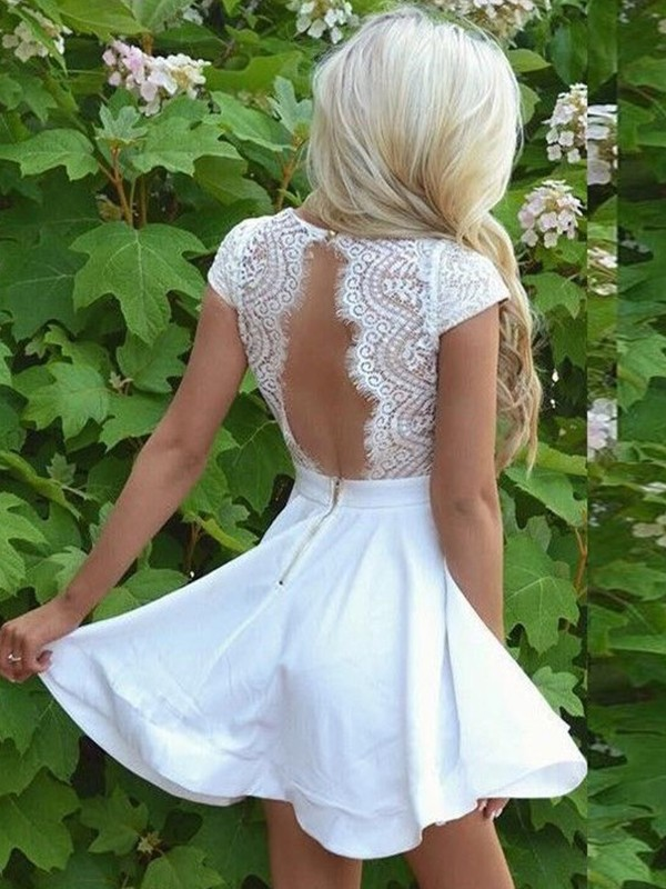Stylish A-Line V-neck Lace Satin Short Sleeves Short/Mini Dress