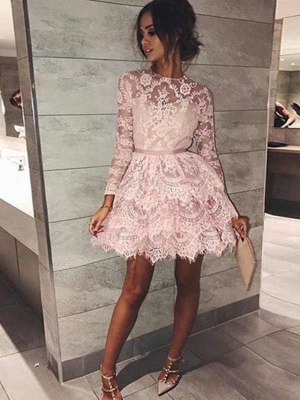 Exquisite A-Line Bateau Long Sleeves Lace Short/Mini Dress
