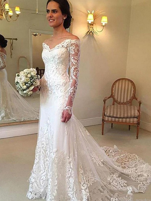 Affordable Mermaid Off-the-Shoulder Court Train Long Sleeves Lace Wedding Dress