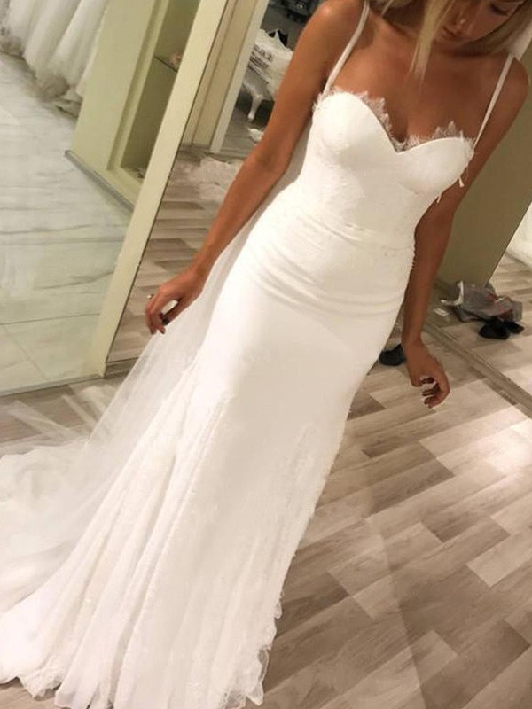 New Sheath Sweetheart Spaghetti Straps Sleeveless Sweep/Brush Train Satin Wedding Dress