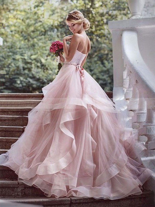 Cheap Ball Gown Sweetheart Sleeveless Court Train Organza Wedding Dress