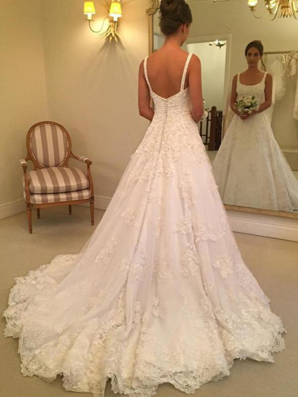 New A-Line Sleeveless Straps Square Court Train Lace Wedding Dress