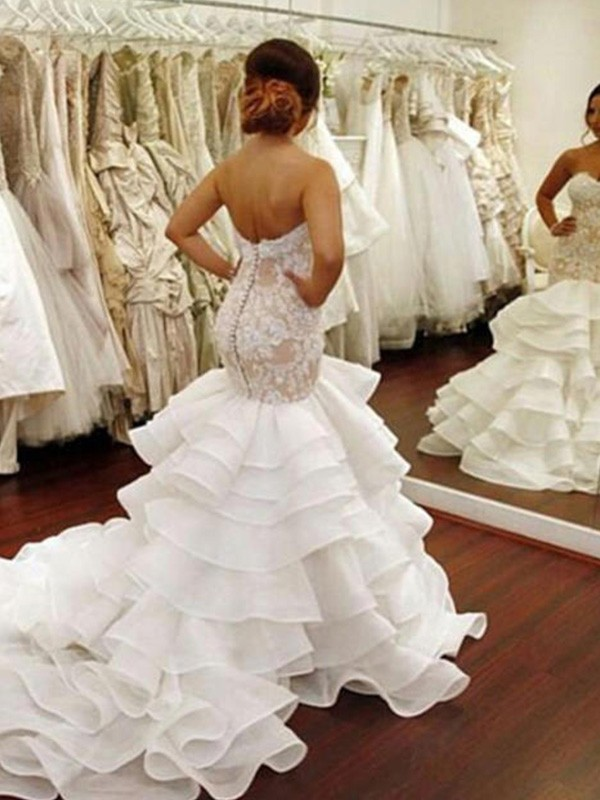 Cheap Mermaid Sleeveless Sweetheart Chapel Train Lace Organza Wedding Dress