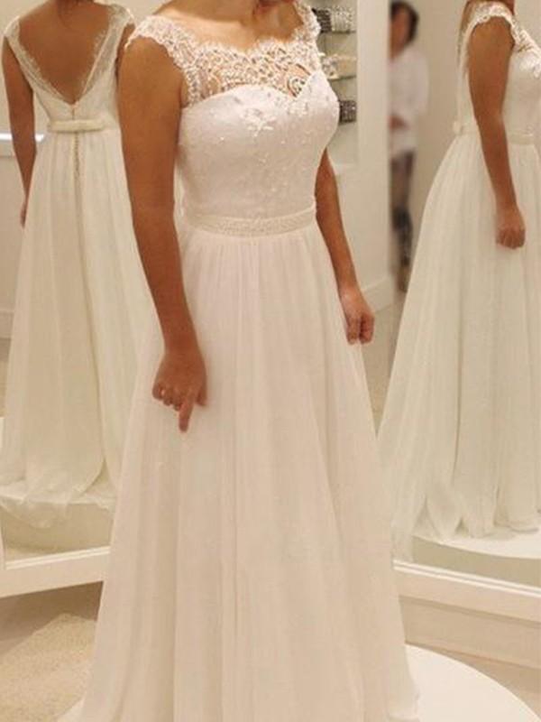 Amazing A-Line Chiffon Lace Scoop Sleeveless Sweep/Brush Train Wedding Dress