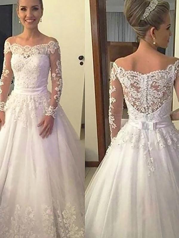 Cheap Ball Gown Tulle Off-the-Shoulder Long Sleeves Court Train Wedding Dress