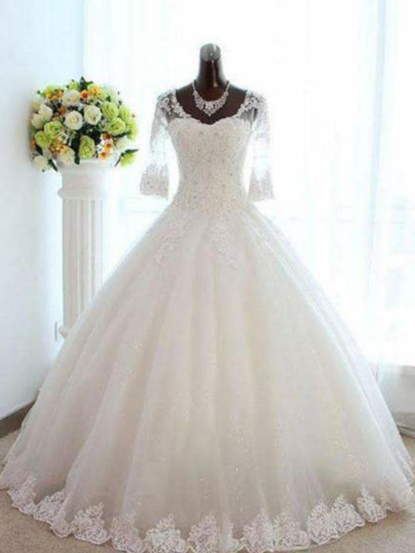 Affordable Ball Gown V-neck Tulle 3/4 Sleeves Bateau Floor-Length Wedding Dress