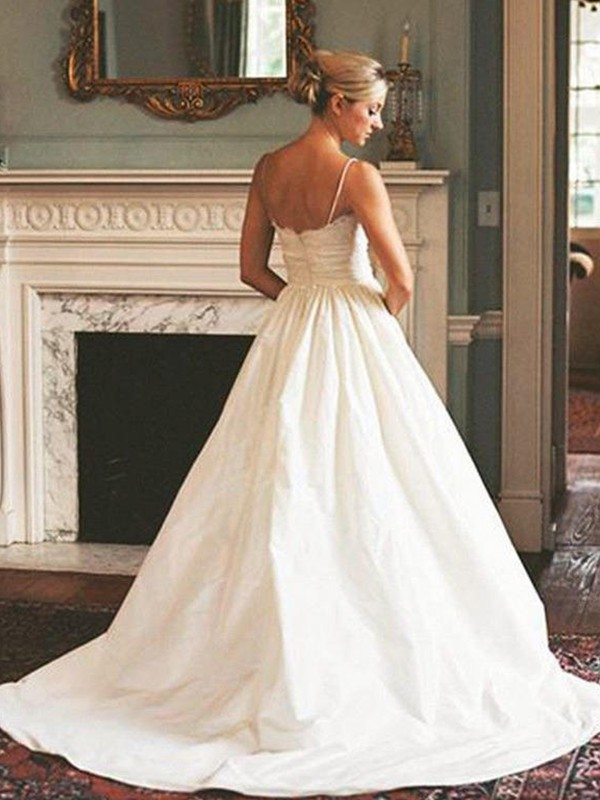 Discount A-Line V-neck Satin Sleeveless Sweep/Brush Train Wedding Dress